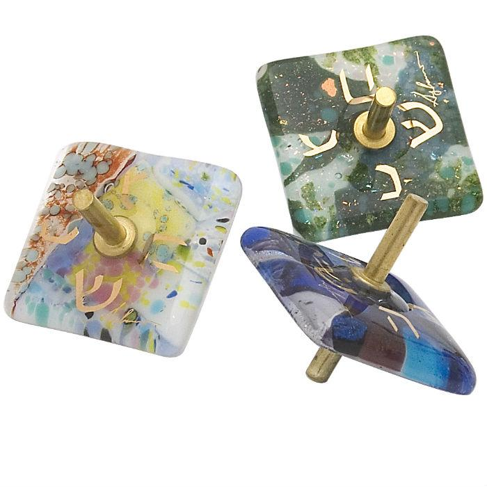 Small Fused Glass Dreidel (Sold Individually) By Gary Rosenthal In Blue,white,multi-Colored,green,gold Size: 1.75X1.75X1.75 Dreidel