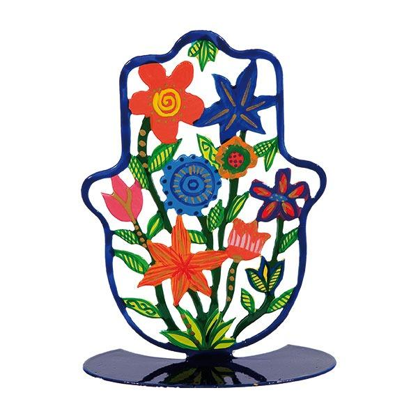 Small Hamsa - Stand- Hand Painted - Flowers