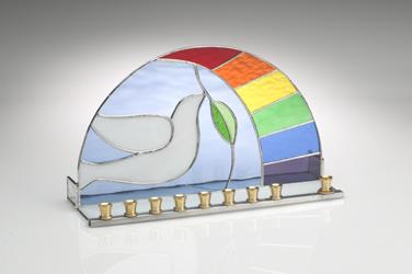 Stained Glass Designs - Dove of Peace Hanukkah Menorah