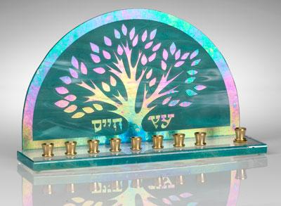 Stained Glass Designs - Tree of Life Hanukkah Menorah