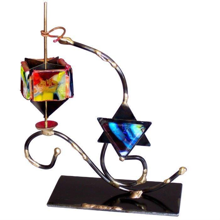 Star Of David And Dreidel Display By Gary Rosenthal In Blue,multi-Colored,black,red,yellow Size: 8.5X7X2.5 Dreidel