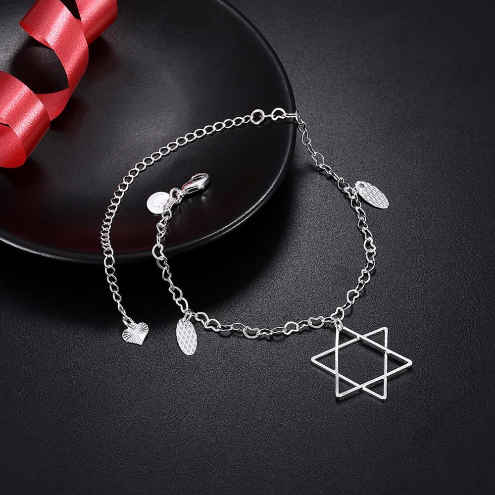 Star of David Charm Anklet 925 Silver Plated