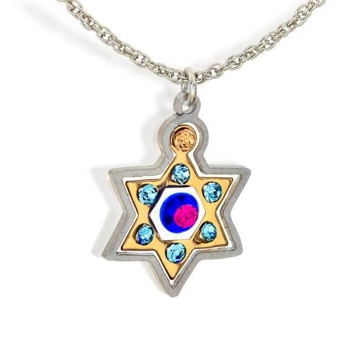 Star Of David Colorful Stoned Necklace.