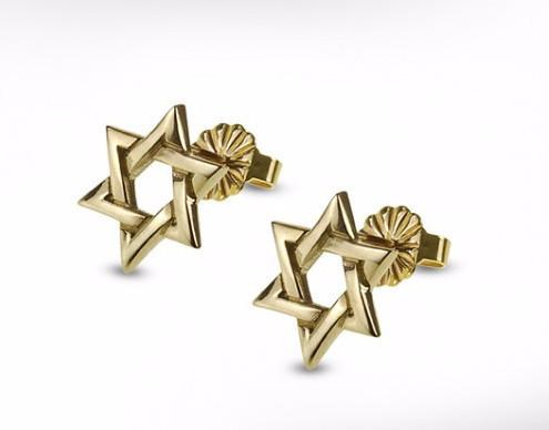 Star Of David Gold Studded Earrings