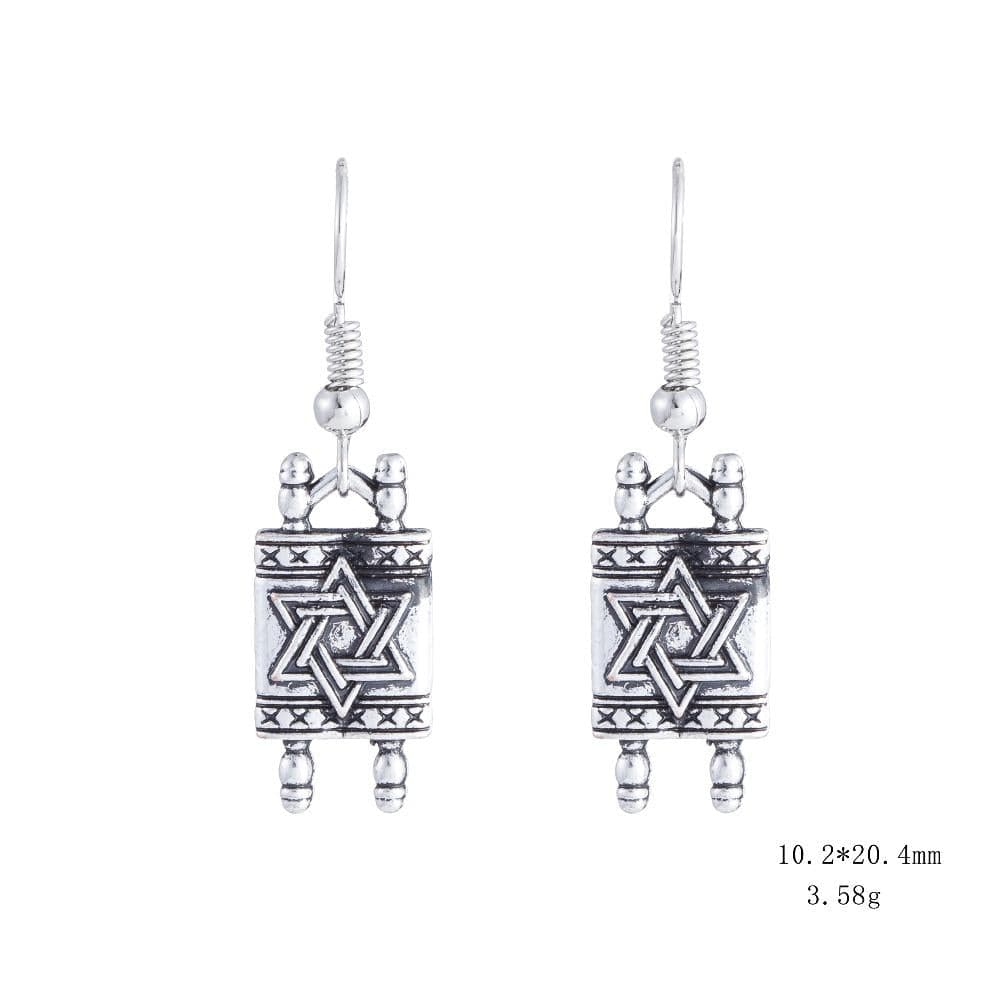 Star Of David Jewish Hebrew Sefer Torah Scroll Religious Drop Earrings Women Jewelry earrings