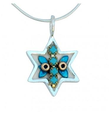 Star of David Necklace Israel Symbols Wheat Branch