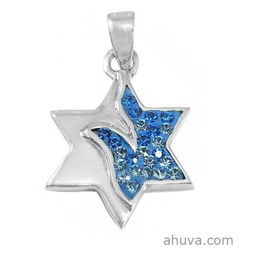 Star Of David Pendant In Blue Crystals 18 inches Chain (45 cm)