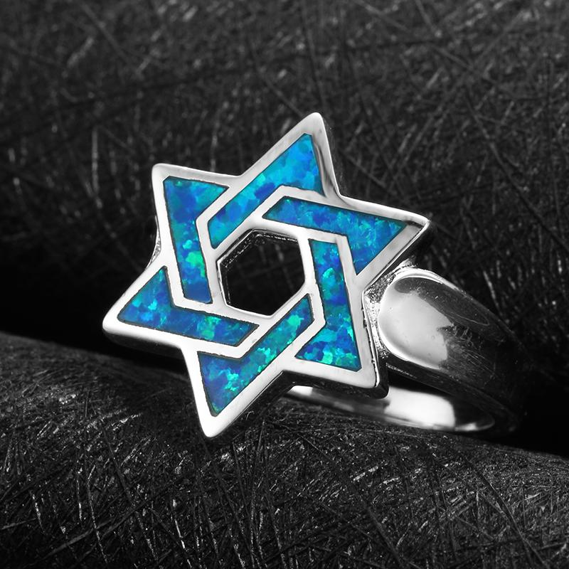 Star of David Ring Blue Opal