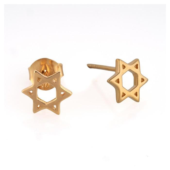 Star of David Stud Earrings Gold Plated