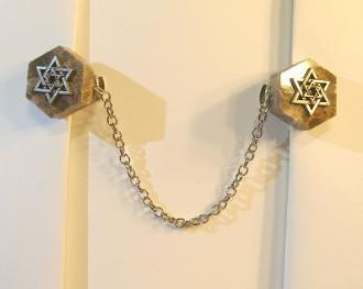 Star Of David Tallit Clips On Marble Gold Or Silver Gold