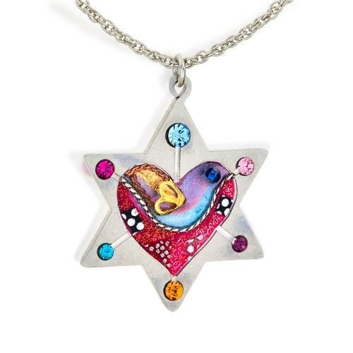 Star Of David With Heart And Dove Necklace