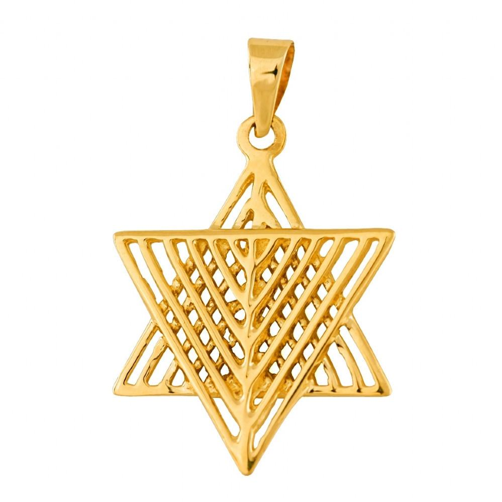 Star Of David With Looks Like A Menorah 16 inches Chain (40 cm)
