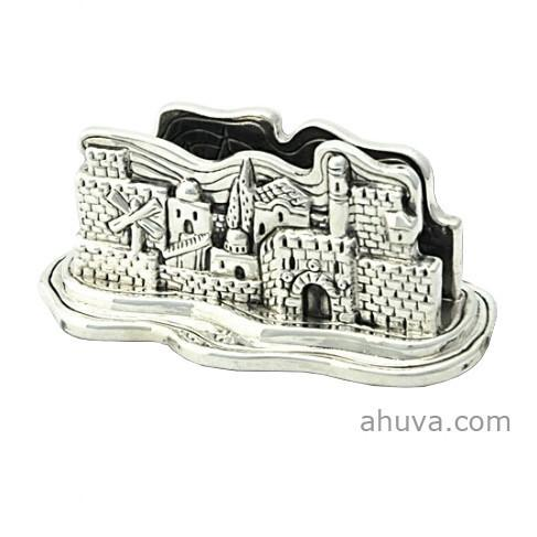 Sterling Silver Jerusalem Business Card Holder, Ju