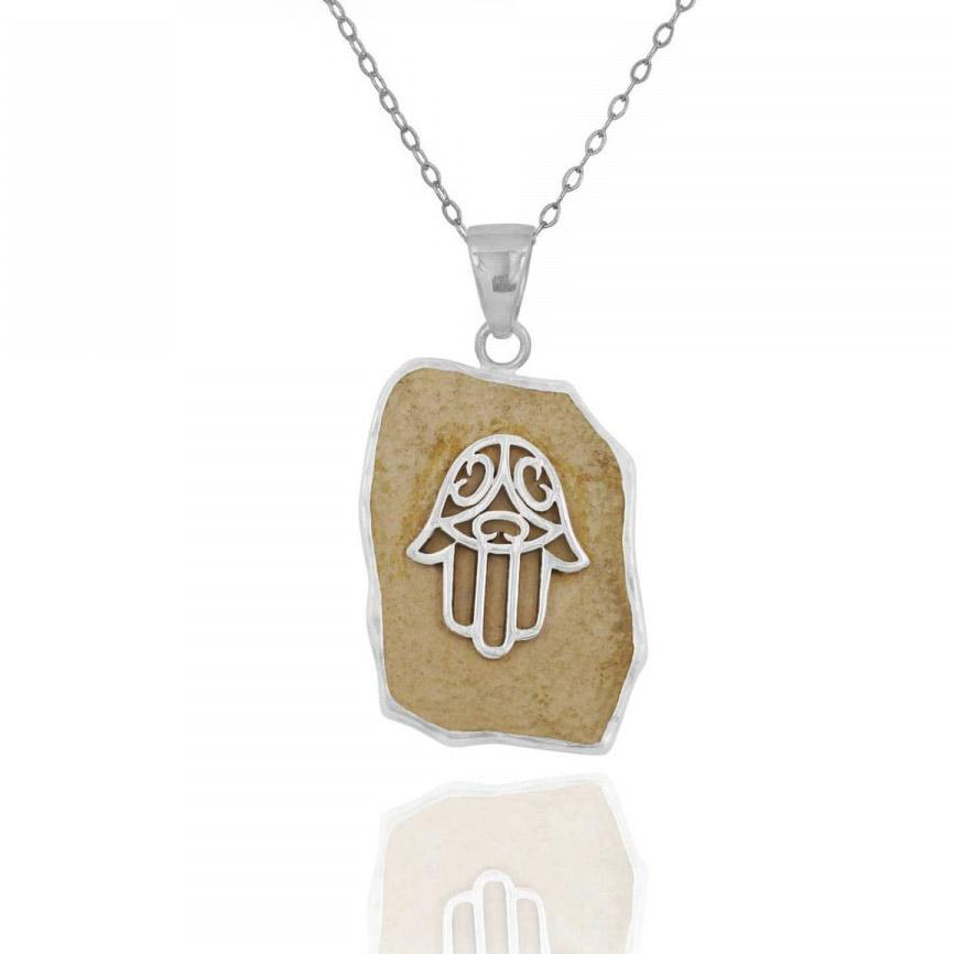 Sterling Silver Jerusalem Stone Hamsa Necklace Sterling Silver Jerusalem Stone Hamsa Necklace