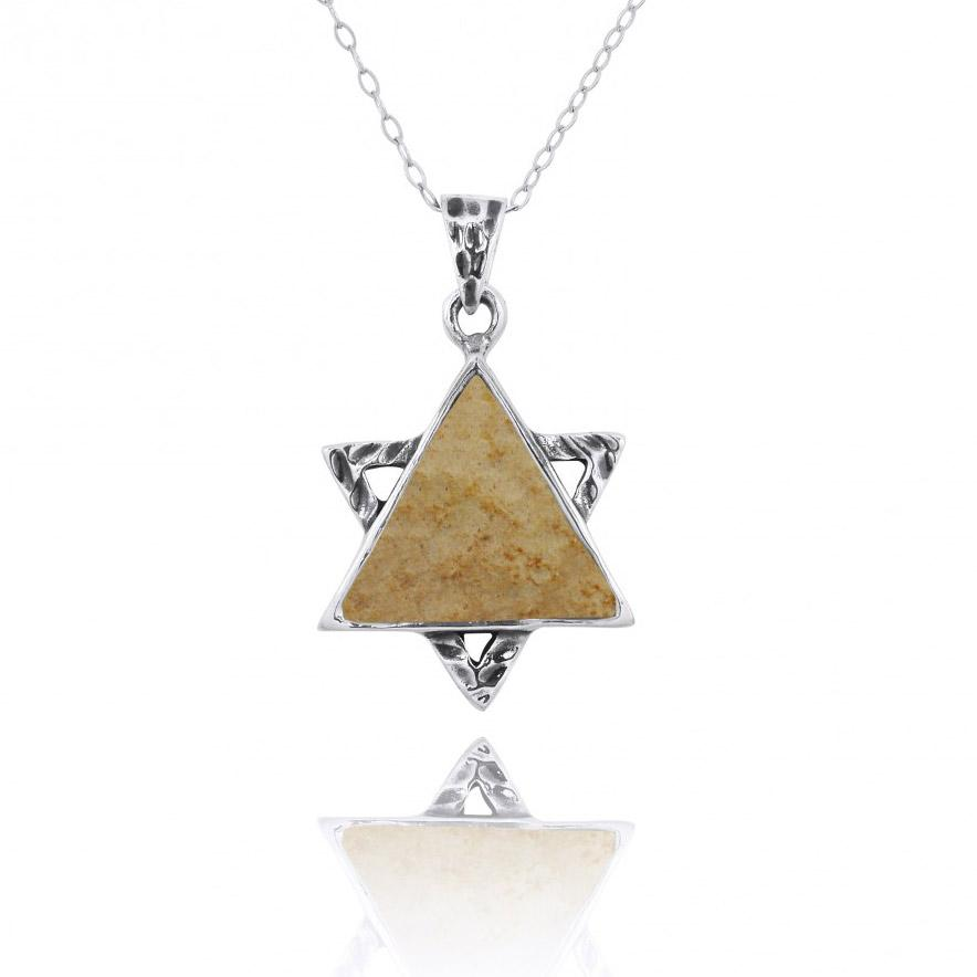 Sterling Silver Jerusalem Stone Jewish Star Necklace Sterling Silver Jerusalem Stone Jewish Star Necklace