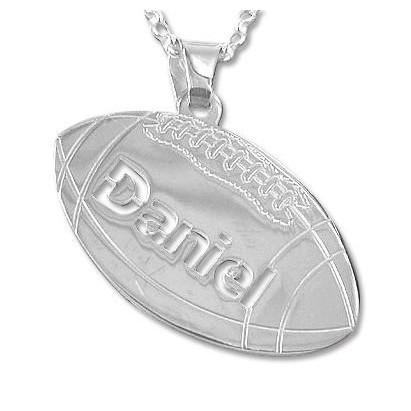 Sterling Silver Personlized Football Pendant 16 inches Chain (40 cm)