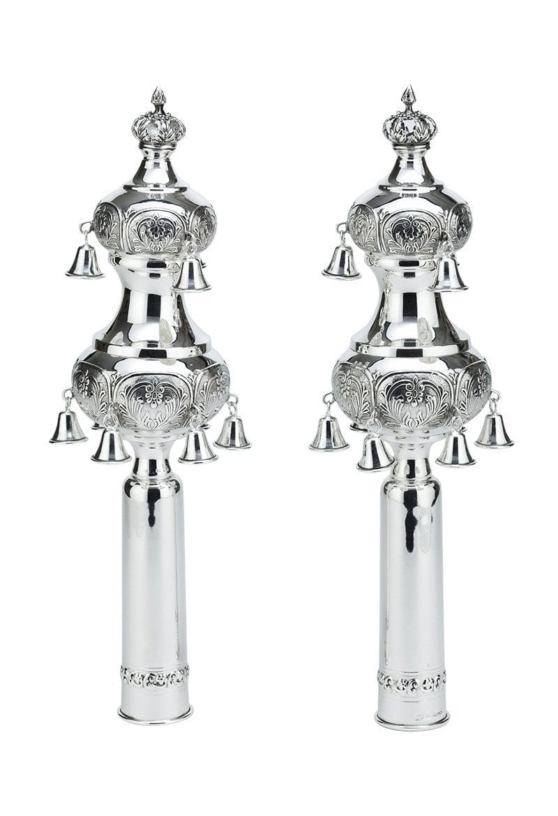 Sterling Silver Rimonim Sefardic Torah Bells Smooth