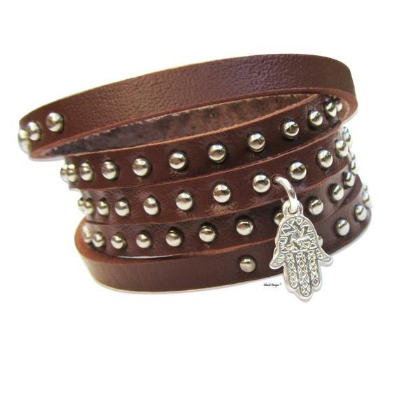 Studded Leather Wrap Bracelets White