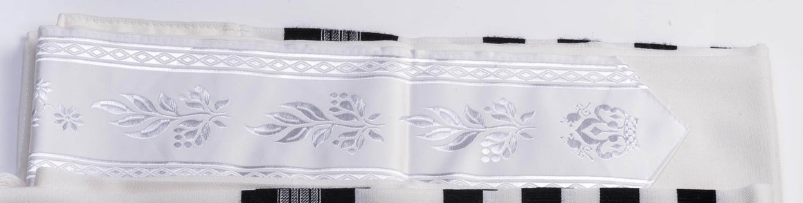 Tallit Atarah Neckband - Fancy White Cloth