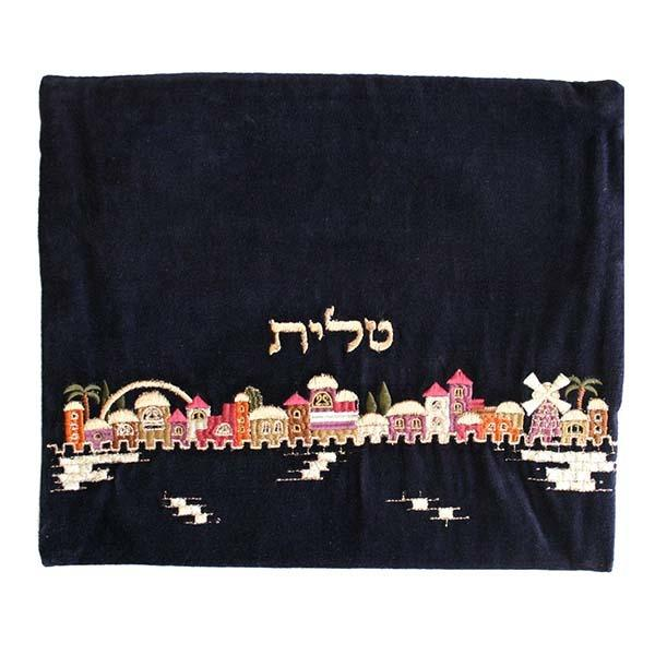 Tallit Bag - Velvet Embroidered - Jerusalem Multicolor
