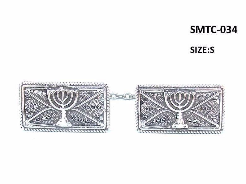 Tallit Clips Sterling Silver Filigree Menorah Tablets
