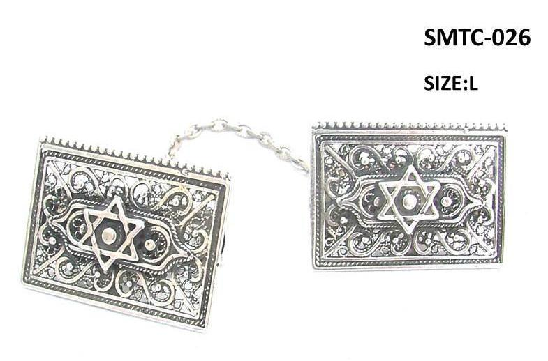 Tallit Clips Sterling Silver Filigree Star of David SMTC-001