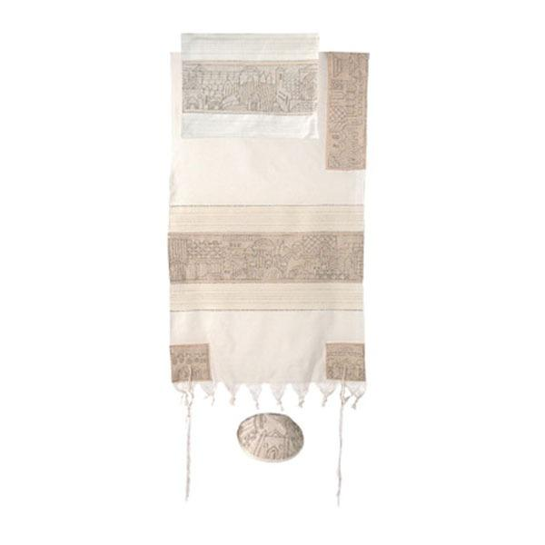 "Tallit - Hand Embroidered - 21"" - Jerusalem -"