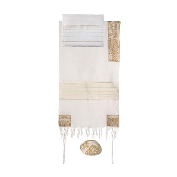 "Tallit - Hand Embroidered - 50"" X 77- Jerusalem"