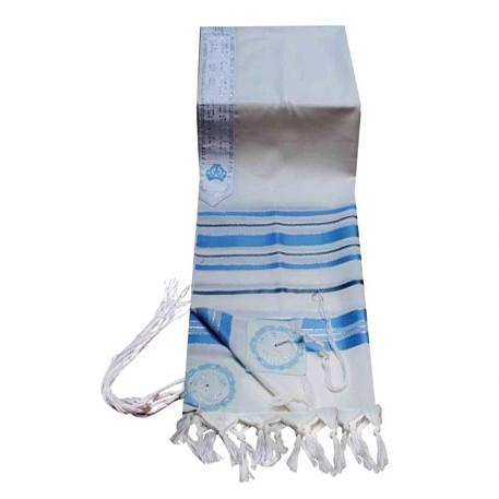 "Tallit in Wool Turquoise Striping Tzizit Tied Ashkenaz Thick 24"" x 72"" (60/180 cm)"