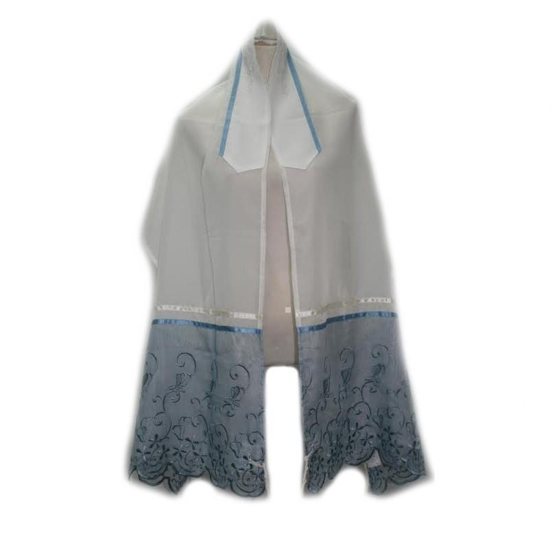 Tallit - Organza Blue Embroidery