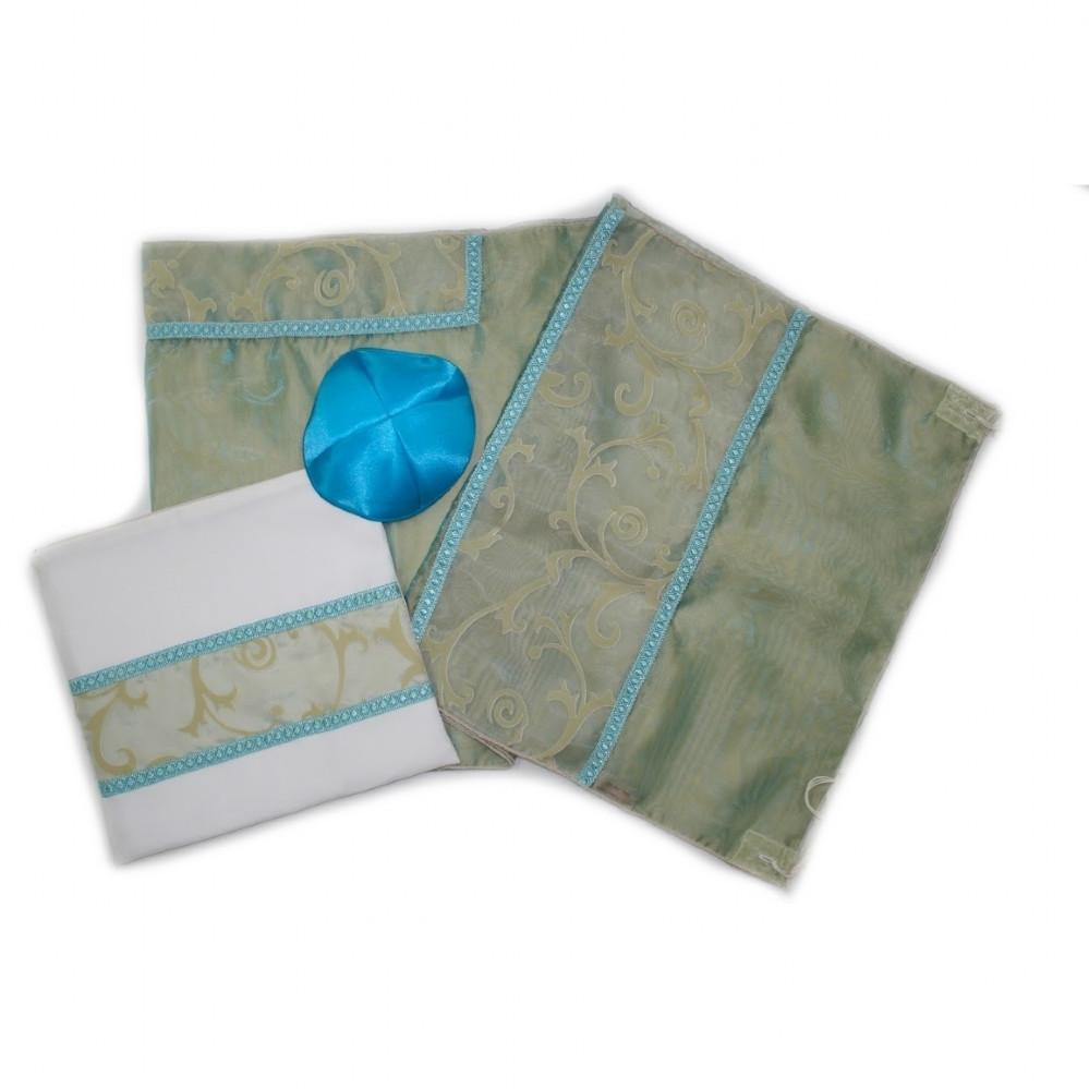 Tallit - Organza Turquoise Floral