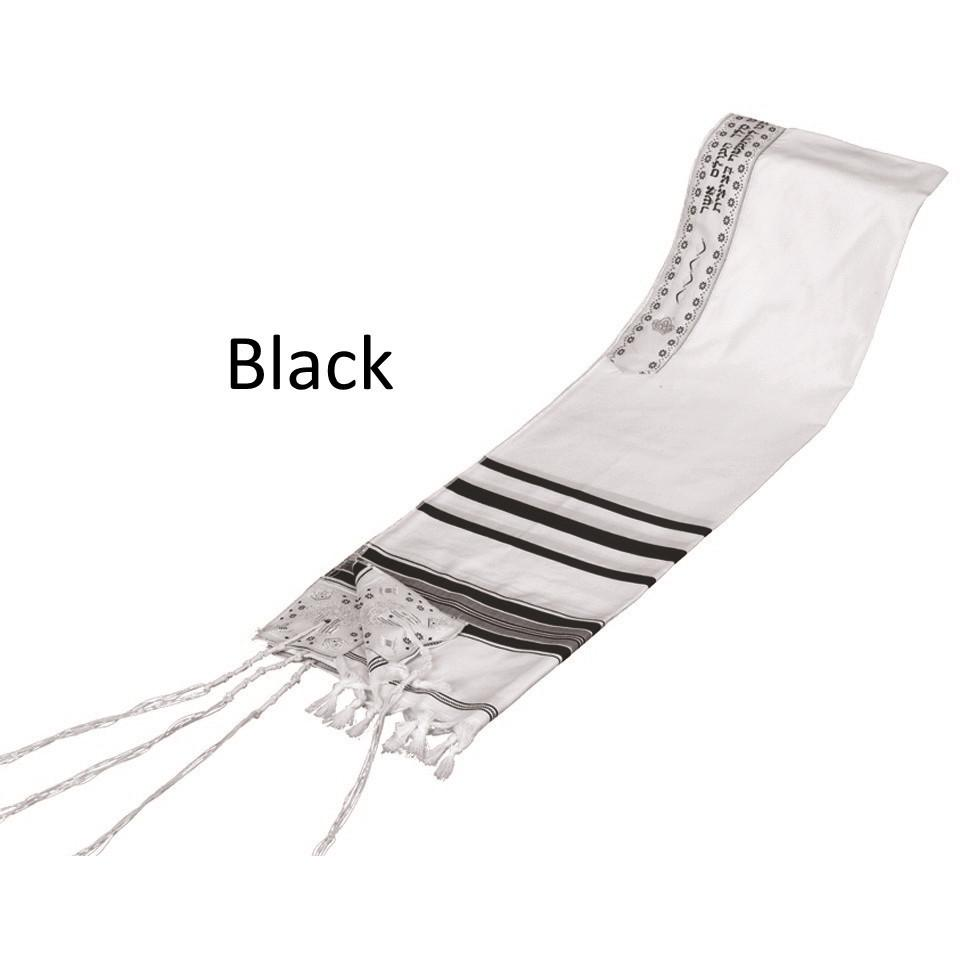 "Tallit Prayer Shawl Acrylic Blend Black/Gold 18 x 72"" Standard"