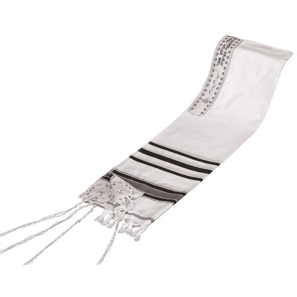 Tallit Prayer Shawl Acrylic Blend Black/Silver