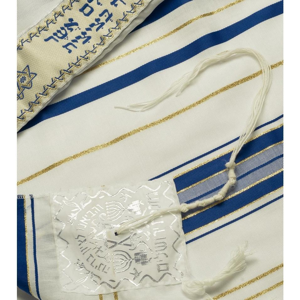 "Tallit Prayer Shawl Acrylic Blue/Gold 18 x 72"" Standard Tzizit"