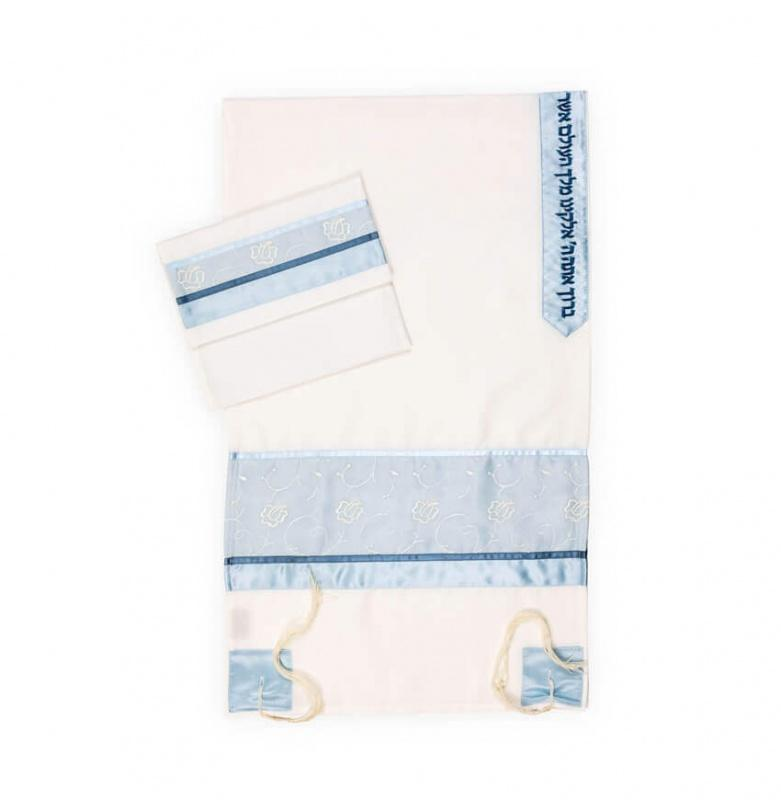 Tallit Set 3 Piece Sky Baby Blue Designer Pattern Tallit on Sale