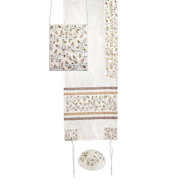 Tallit Set - Embroidery - Pomegranates - Silver - Gold