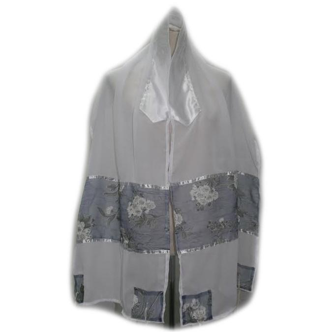 Tallit Set For Women - Organza Gray Blue Florals