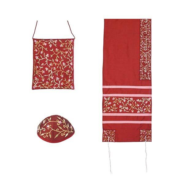 Tallit Set - Machine Embroidery - Flowers - Maroon
