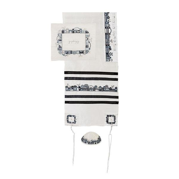 Tallit Set - Machine Embroidery - Jerusalem - Black + Gray