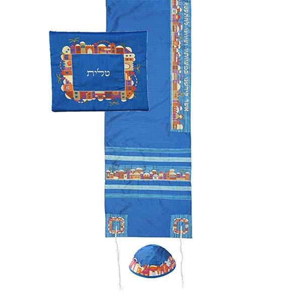 Tallit Set - Machine Embroidery - Jerusalem - Blue