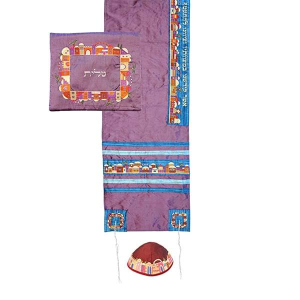 Tallit Set - Machine Embroidery - Jerusalem - Maroon