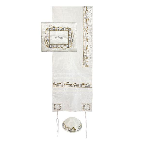 Tallit Set - Machine Embroidery - Jerusalem - Silver + Gold