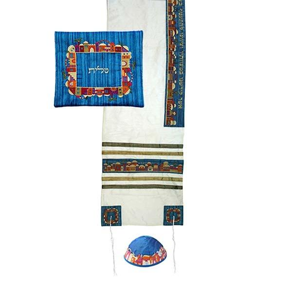 Tallit Set - Machine Embroidery - Jerusalem - White
