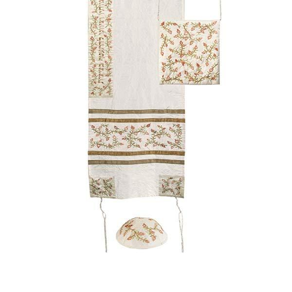 Tallit Set - Machine Embroidery - Pomegranates - Bright