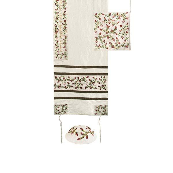 Tallit Set - Machine Embroidery - Pomegranates - Dark