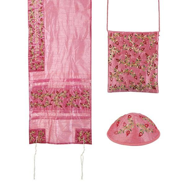 Tallit Set - Machine Embroidery - Pomegranates - Pink