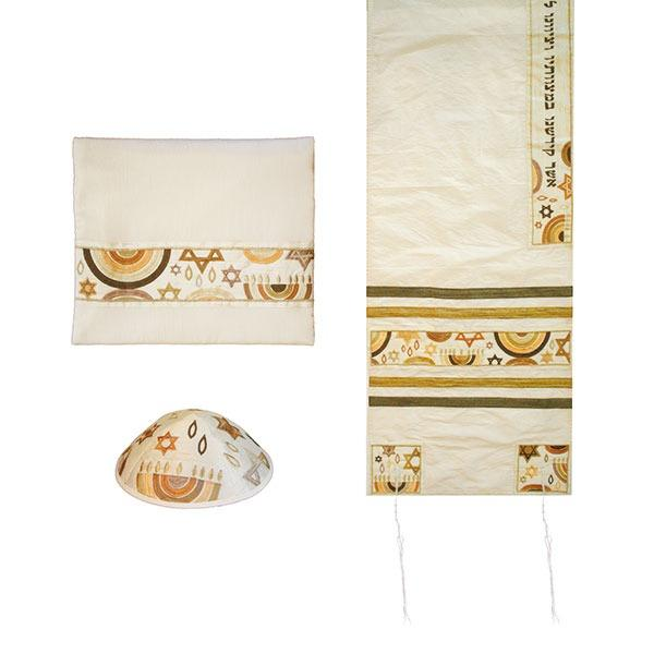 Tallit Set - Machine Embroidery - Star of David - Brown