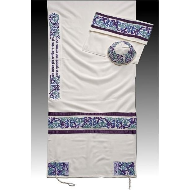 "Tallit Set - Matriarchs Purple Lavender 51x72"" (130/180 cm) #55 Wool Embroidery to 10 letters"