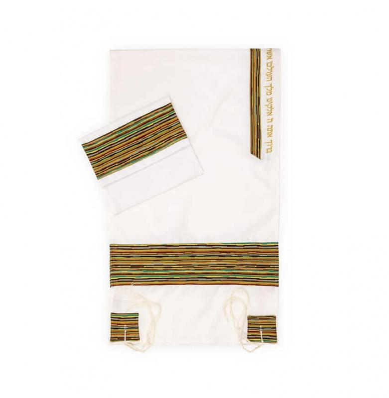 Tallit set Multi Color Striped Pattern