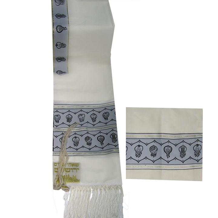 "Tallit Set Shvatim Twelve Tribes Of Israel Black/Gold 18"" x 72"" (45/180 cm)"